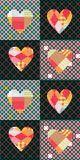 Seamless patchwork pattern with colorful hearts. Stock Image