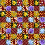 Seamless patchwork pattern with colorful patches with flowers, pears, dots and squares Royalty Free Stock Photos