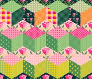 Seamless patchwork pattern. Colorful quilt. Stock Images