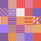 Seamless patchwork pattern from colorful square patches with geometric ornament. Vector illustration. Quilt design stock illustration