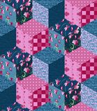 Seamless patchwork pattern from different cubes Stock Photo