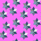 Seamless patchwork pattern from different elements in blue and pink tones Stock Photography