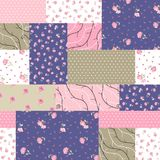 Seamless patchwork pattern from different patches with pink flowers, branches and polka dot ornament. Vector illustration stock illustration