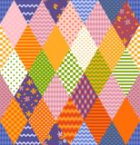 Seamless patchwork pattern from different rhombuses patches. Bright colorful vector illustration of quilt stock illustration