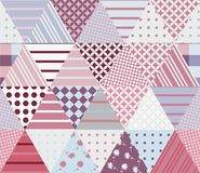Seamless patchwork pattern from different triangle patches. Vector illustration. Quilt in pink and grey tones royalty free illustration