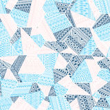 Seamless patchwork Pattern. Ethnic and tribal motifs. Zentangle,. Doodle, mosaic. Print for your textiles. Blue and white colors. Vector illustration royalty free illustration