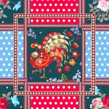 Seamless patchwork pattern with fairy peacock, bouquets of roses and cosmos flowers, polka dot background and ornamental frames. Vector design vector illustration