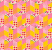 Seamless patchwork pattern with floral and geometric patches. Royalty Free Stock Images