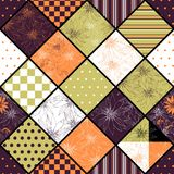 Seamless patchwork pattern with flowers and geometric ornaments. Stock Images