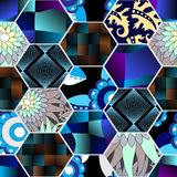 Seamless patchwork pattern with  flowers. russia or slavs design Royalty Free Stock Images