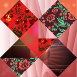 Seamless patchwork pattern with flowers - stock  Stock Photo