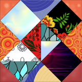 Seamless patchwork pattern with flowers - stock  Stock Photos