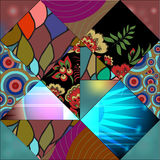 Seamless patchwork pattern with flowers - stock  Royalty Free Stock Image
