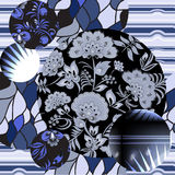 Seamless patchwork pattern with flowers - stock  Stock Image