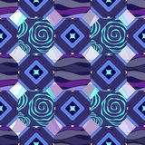 Seamless patchwork pattern with flowers - stock  Royalty Free Stock Photo