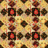 Seamless patchwork pattern with flowers. Vintage Stock Photo