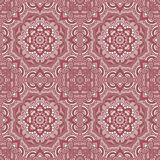 Seamless patchwork pattern frame of trendy floral flower tile circles. Royalty Free Stock Photos