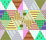 Seamless patchwork pattern. Geometric ethnic ornament. Vector illustration of quilt. Can be used for wallpapers, textiles, fabrics, textures, wrapping paper Royalty Free Stock Photos