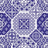 Seamless patchwork pattern. Gorgeous seamless patchwork pattern from dark blue and white ornaments. Can be used for wallpaper, pattern fills, web page background royalty free illustration