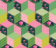 Seamless patchwork pattern with green, pink and floral patches. Bright quilting design Vector Illustration