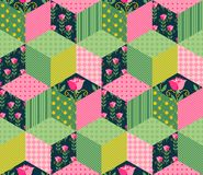 Seamless patchwork pattern with green, pink and floral patches. Stock Photos