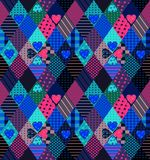 Seamless patchwork pattern with hearts. Bright fabric design. Royalty Free Stock Image