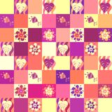 Seamless patchwork pattern with leaves and flowers Stock Photos