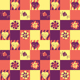 Seamless patchwork pattern with leaves and flowers Stock Photo