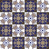 Seamless patchwork pattern from Moroccan ,Portuguese tiles in blue and brown colors. stock image