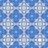 Seamless patchwork pattern from Moroccan ,Portuguese tiles in blue colors. stock photos