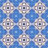 Seamless patchwork pattern from Moroccan ,Portuguese tiles in blue colors. stock images