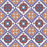 Seamless patchwork pattern from Moroccan ,Portuguese tiles. Decorative ornament can be used for wallpaper, backdrop, fabric, textile, wrapping paper Stock Photos