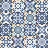 Seamless patchwork pattern , Moroccan tiles. Gorgeous seamless patchwork pattern from dark blue and white Moroccan tiles, ornaments. Can be used for wallpaper Royalty Free Stock Images