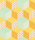 Seamless patchwork pattern with orange and green cubes Stock Photos