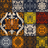Seamless patchwork pattern ornaments. Royalty Free Stock Photos