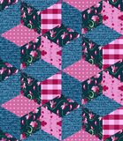 Seamless patchwork pattern in pink and blue tones. Stock Images