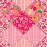 Seamless patchwork pattern in pink tones. Stock Image