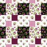 Seamless patchwork pattern with plums. Vector illustration. Royalty Free Stock Photos