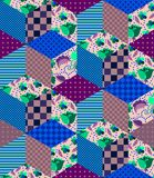 Seamless patchwork pattern. Quilting design from different patches. With dots, stripes and flowers. Vector illustration Royalty Free Stock Photo
