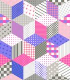 Seamless patchwork pattern. Quilting design with stars from different patches. Vector illustration Royalty Free Stock Image