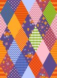 Seamless patchwork pattern from rhombuses patches with floral and geometric ornaments. Bright colorful vector illustration of quilt vector illustration