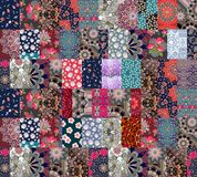 Seamless patchwork pattern in russian style with beautiful flowers Stock Photos