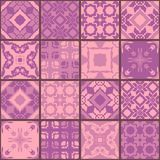 Seamless patchwork pattern from square patches in purple tones. Elegant vector illustration. Quilting design background. Luxury oriental ceramic tiles Royalty Free Stock Images