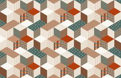 Seamless patchwork pattern with stars. Quilt Royalty Free Stock Photos