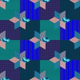Seamless patchwork pattern with stars on squares. Stock Photos