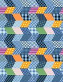 Seamless patchwork pattern - stylized night city. Yellow patches as windows and blue patches as houses Royalty Free Stock Photography