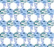 Seamless patchwork pattern with teapots, clouds in blue tones and white fabric Royalty Free Stock Photo