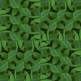 Seamless patchwork pattern texture of  green leaves Stock Photo