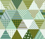 Seamless patchwork pattern from triangle patches. Vector illustration. Quilt in green tones stock illustration