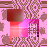 Seamless patchwork pattern with turtle - stock  Royalty Free Stock Photos